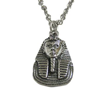Silver Toned Egyption King Tutankhamun Pendant Necklace