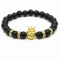 Gold Lion Head Black Bead Bracelet