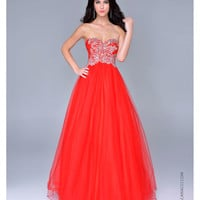 Nina Canacci 2014 Prom Dresses - Red Tulle & Beaded Bodice Ball Gown