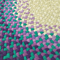 """27"""" Purple and Teal Round Rug"""