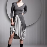 Grey Dress Gray Dress Cotton Lycra Dress Long Sleeves by OrliGolan