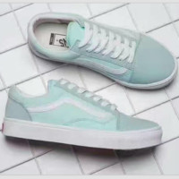 """""""Vans"""" With Warm Casual Shoes Men and women Pink cloth shoes Mint green"""