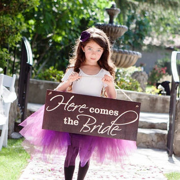 Here Comes the Bride Ring Bearer Sign Banner Wood Wedding Sign Custom Available