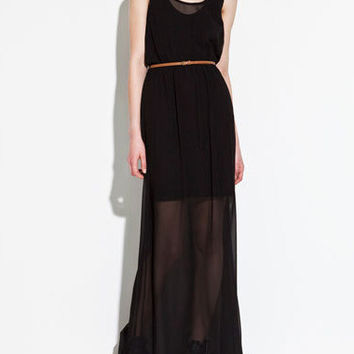 Sleeveless Chiffon Belted Maxi Dress