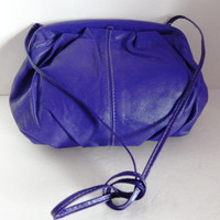 Vintage Blue / Purple Genuine Leather - 1980's