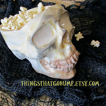 Skull popcorn chip bowl or Halloween decoration kiln fired pottery ready to ship
