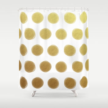 painted polka dots - gold Shower Curtain by Her Art