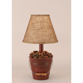 Coast Lamps Distressed Red Mini Bucket Of Pine Cones Lamp