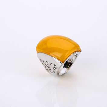 Bohemian Square Resin Rings With A Large Stone Ring Fashion Jewelry Women's Engagement Ring Women's Colorful Cute Rings Fun Gift