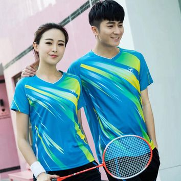 New brand Sports Quick Dry breathable badminton shirt,Women/Men table tennis group team running training Sport T Shirts