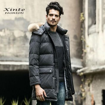 Men's Winter Jacket Down Coat Outwear 100% Real Raccoon Fur Trim Collar Hood Parkas Clothing Warm