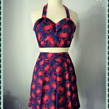Swell Dame 1950s style women high waisted shorts and top with crabs print