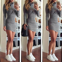 Grey Bodycon Mini Dress