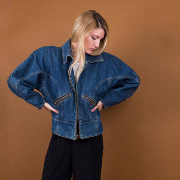 batwing denim jacket / 80's puffy denim coat / avant garde jean jacket / denim bomber jacket / denim windbreaker / Vintage 1980s