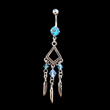Feathers and Tribal Belly Ring Blue Rhinestones Blue Beads