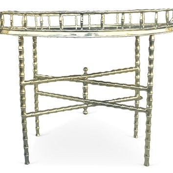 Brass Bamboo-Style Tray Table