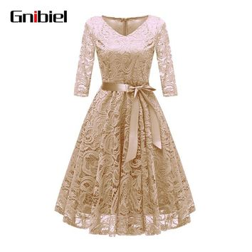 GNIBIEL High Quality Bohemian Sexy Lace Autumn Purecolor Chiffon Dress Three Quarter Sleeve with Belt Pink Long Sleeve Plus Size