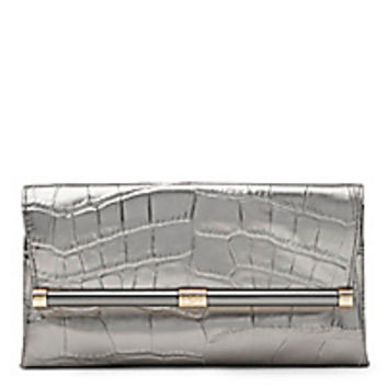 DVF 440 Envelope Metallic Croc Leather Clutch