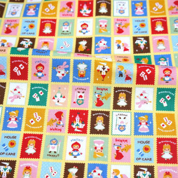Japanese cotton linen  Fabric Alice in Wonderland LIttle red riding hood Cinderella theme A6