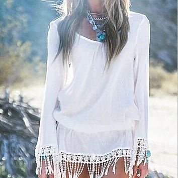Sexy Long Sleeves V-neck Fringe Beach Cover Up Dress