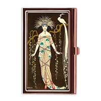 Peacock Lady Business Card Case in Rose Gold