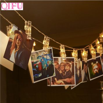 QIFU 1.2m Battery Operated LED Photo Clip Lights Birthday String Fairy Light Romantic Wedding Party Decoration DIY Garland Light