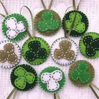 St Patrick's Day ornaments, green clover decorations, Saint Paddy's day, shamrock, set of 10
