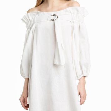 White Off Shoulder Ring Detail Puff Sleeve Dress