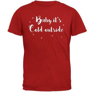 DCCKU3R Christmas Baby it's Cold Outside Script Snowflakes Mens Soft T Shirt