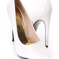 White Pointed Toe Single Sole Pump Heels Patent