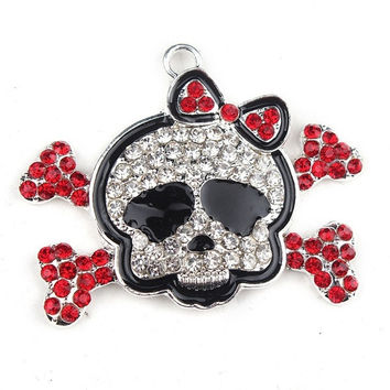 Crossbones Rhinestone Pendant Necklace Floating Charm Costume Jewelry