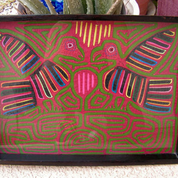 Textile Mola Applique Framed Tray Reverse Applique Fabric Wall Art Hanging Tribal Indian Ethnic Native Art Primitive Colorful Bird