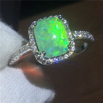 Fashion Anniversary ring Opal Cz White Gold Filled Party wedding band rings for women Men Jewelry Gift