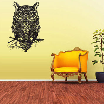 Wall Vinyl Sticker Decals Decor Art Bedroom Design Mural Owl Bird Tattoo Mandala Tribal (z2377)