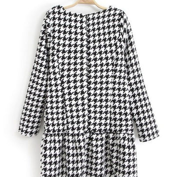 Houndstooth Print Long Sleeve Shift Ruffled Bottom Mini Dress