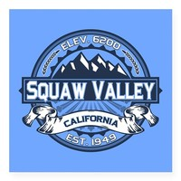 "Squaw Valley Blue Square Sticker 3"" x 3"""