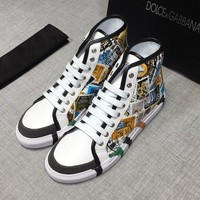 Dolce&Gabbana White Print Leather D&G Hi-Top Sneakers