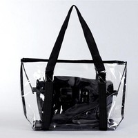 2017 fashion Transparent beach bag crystal jelly bag big shoulder bags Women Handbags Purse Solid Casual Tote