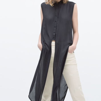 Dark Blue Long Blouse Turn Down Collar Side Open Shirt