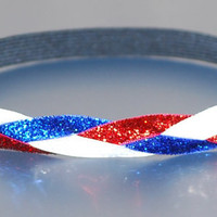 Olympic USA colors Style - Sparkle Glitter Comfy BRAIDED Headband - Red White and Blue -  by Ladybuglogic