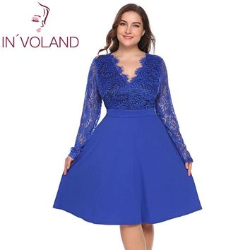 IN'VOLAND Women Lace Dress Plus Size L-4XL Hollow Floral Long Sleeve Backless Large Swing Party Dresses Lady Vestidos Big Size