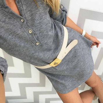 DCCK6HW Women Casual Solid Color Long Sleeve V-Neck Knit Sweater Mini Dress