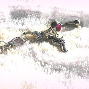 Pink Handcuffs and Gun Belly Ring, Hipster, Gypsy, Ready to Ship