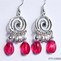 Splendid double spiral silver plated earrings with pink and silvery plated glass beads and big pinkish glass beads-Handmade