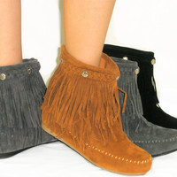 Cherokee Indian Suede Moccasin Fringe Tassel Flat Boots Ankle Bootie