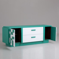 A Lane Green and White Geometric Patterned Low SideBoard