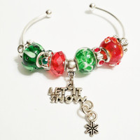 Let It Snow Red and Green Christmas Bangle Bracelet - Christmas Snow  - Stocking Stuffer - Christmas Gift - Let It Snow Christmas Bracelet