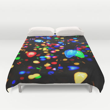 Christmas Lights Duvet Cover by 2sweet4words Designs