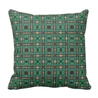 Green grid pattern cushion
