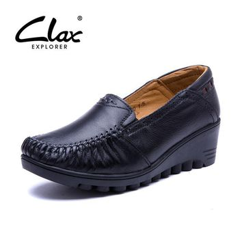 CLAX Women Leather Shoes Pumps 2017 Summer Autumn Shoe Lady Genuine Leather Loafer Vin